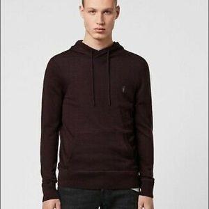 All saints merino wool purple pullover mens hoodie